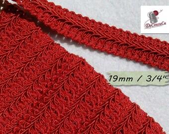 "4 yards, trim, red, Cracked Ribbon, Ribbon Tapestry, Vintage, 19mm, (3/4""), RB16"
