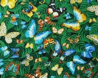 Butterfly, green background, River Friends, 5652, cotton, cotton quilt, cotton designer, (Reg 3.76-21.91)