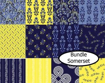 SALE, Bundle of 12, Flower blue and yellow, Somerset de Benartex, 100% cotton, (Reg 45.12-233.88)