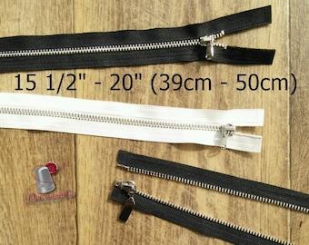 "Zipper, DETACHABLE, 15 1/2"" - 20"", (39cm - 50cm), zipper, silver metal, nylon, for clothing, repair, Z39-5"