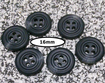 6 Buttons, 16mm, SHADE BLACK GRAY, button vintage, Btn 97