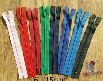 Zippers, 15cm, 1 zipper, #3, 6 inchs, varied color, nylon, perfect for wallets, clothing, repair, creation, Z15