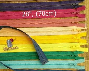 """YKK, DETACHABLE, 28"""", (70cm), zipper, #5V, varied color, varied size, nylon, for clothing, repair, Z28"""