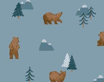 Fabric bear pattern 100% cotton, #10461 DENIM, variable sizes - Camp Woodland of Riley Blake