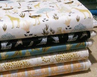Bundle, 5 prints, Safari Dream, Camelot Fabrics, cotton, butterfly, pumpkin,