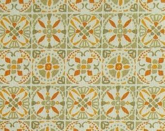 SALE, Tile,orange, sage, 66180205, col 03, Autumn Impressions, Camelot Fabrics, cotton, cotton quilt, cotton designer, (Reg 3.76-21.91)