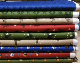 Bundle, 9 prints, G.I. Joe Adventure, Camelot Fabrics, Cotton, quilt cotton