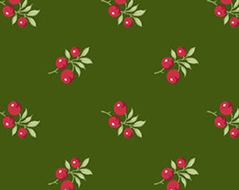 SALE, Fabric, Cotton, Berry, green, Winter Rose, 9420, Andover, (Reg 3.76-21.91)