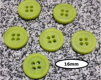 6 buttons, 16 mm, LIME GREEN, 4 holes, vintage button, BTN 33A