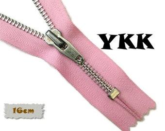 YKK, 16cm, Pink, Zipper, Cursor V, 6 Inch, Metal, Zipper, Non-Detachable, vintage, 1980, Z16