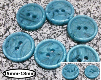 6 Buttons, 15mm or 18mm, TURQUOISE TWIG, button vintage, BTN 61D
