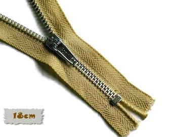 18cm, Beige, Zipper, 7 Inch, Metal Slider, Zipper, Non-Detachable, vintage, 1980, ZC2