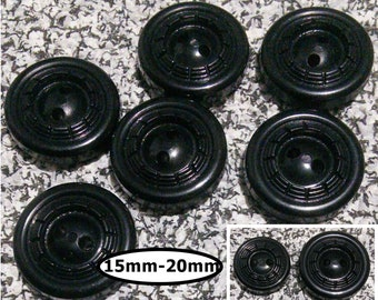 6 buttons, BLACK, 15mm, 20mm, bouton 2 holes, 1980,