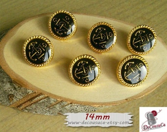6 buttons, 14mm, Black and Gold, Anchor, vintage, BF41