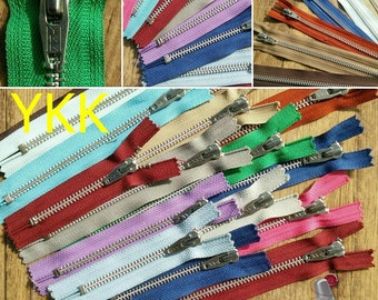 Bundle 12 zippers, 10cm-22cm, YKK look antique, Vintage, metal silver, perfect for wallets, clothing, repair, leather,  Z10-22