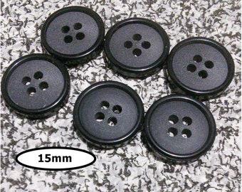 6 Buttons, 15mm, CHARCOAL, BLACK, 4 holes, caséine, BTN 42B