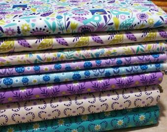 SALE, Bundle, 8 motifs, Springs Birds of Camelot Fabrics, quilt cotton, (Reg 30.08-136.43)