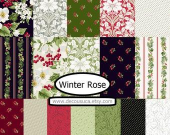 Bundle 17 prints, Winter Rose, Andover,  bundle, 1 of each , (Reg 63.92-331.33)