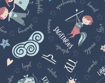 Astrologicals signs, navy, 61180301, col 02, Celestial Zodiac, Camelot Fabrics, cotton, cotton quilt, cotton designer
