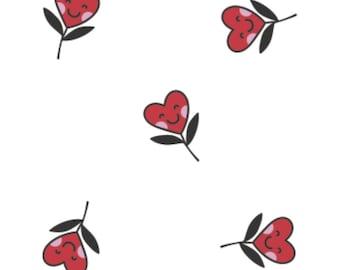 Small red smile hearts, white background, XOXO, 21190705, col 01, Camelot Fabrics, cotton, cotton quilt, cotton designer