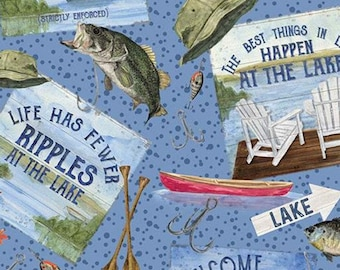 Fabric fish pattern 100% cotton, #10550 BLUE, variable sizes - At The Lake of Riley Blake