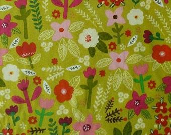 Fabric Flowers, green olive, cotton, cotton quilt, cotton designer