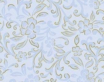 Flower, gold, blue, pale blue background, Garden Scroll, Kanvas, 08935, col 05, Benartex, cotton, cotton quilt, cotton designer