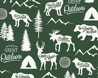Fabric animals, GREEN, #10720, Adventure is Calling, Riley Blake, fabric, cotton, quilt cotton