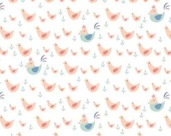 SALE, Chickens in Peach, 21170703, 01, Cluck, Moo, Oink, Camelot Fabrics, 100% Cotton, quilt cotton, (Reg 3.76-21.91)