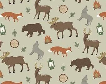 Adventure is Calling of Riley Blake Designs, Fabric animals, KHAKI, #10721 , fabric, cotton, quilt cotton