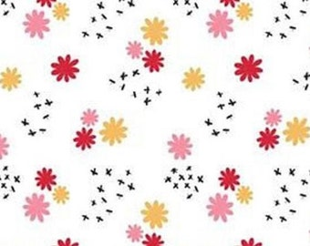 Ditsy flower, white, 21181003, col 01, Field of Poppies, Camelot Fabrics, 100% Cotton