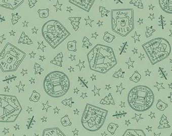 Fabric badge pattern 100% cotton, #10465 PISTACHIO, variable sizes - Camp Woodland of Riley Blake