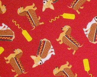 Fabric Dog, hot dog, 100% cotton, cotton quilt, cotton designer
