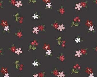 Holly Holiday, Riley Blake Designs, Christmas fabric 100% cotton, #10884 CHARCOAL
