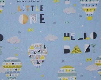 Fabric Hot air balloon, 100% cotton, cotton quilt, cotton designer