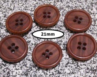 6 Buttons, 21mm, NOISETTE, button 4 holes, BTN 93