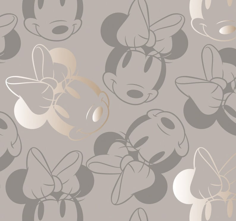 Metallic 100/% cotton fabric by the yard Disney Minnie Face Outline in Black