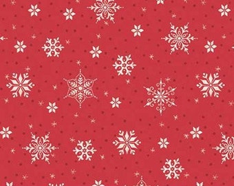 Snowed In, Riley Blake, Christmas fabric 100% cotton, snowflake, #10815 RED