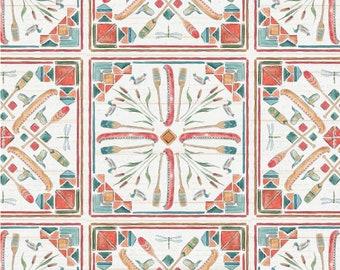 SALE, Canoe tiles, Lake Moments, 66180101J, Camelot Fabrics, 100% Cotton, (Reg 3.76-21.91)