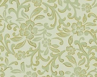 Flower, golden, sage, pale sage background, Garden Scroll, Kanvas, 08935, col 04, Benartex, cotton, cotton quilt, cotton designer