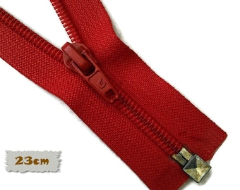 """SEPARABLE, 23cm, (9""""), Red, Zipper, 7E Slider, Vintage, 1980, ZS01"""
