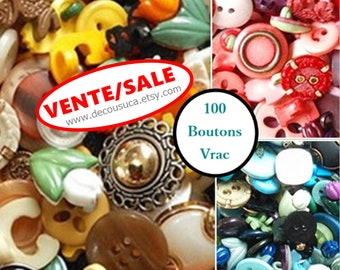 100 boutons, 2 holes, 4 holes, rod, childish, chic, lucite, celluloid, metal, bundle buttons, economic, best deal, BF200
