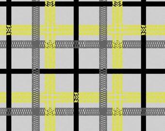 Tire tracks, plaid, grey, 27190104, col 02, On the Move, Camelot Fabrics, cotton, cotton quilt, cotton designer