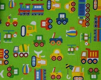 SALE, Truck, green, Rainbow, cotton quilt, cotton designer