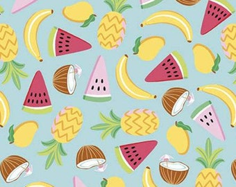Fruit, banana, ananas, AQUA, 10891, Rainbow Fruit, Riley Blake, fabric, cotton, quilt cotton