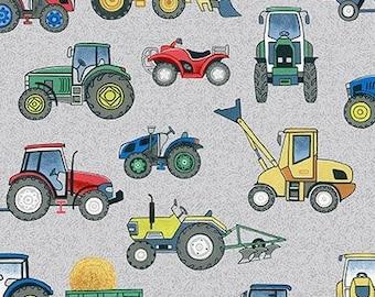 Tractor, blus-gray, 2296S, Village Life, Makower, cotton, cotton quilt, cotton designer