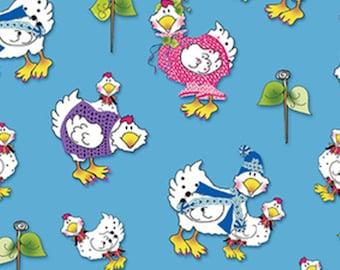 KNITCHICKS, blue, 1457-11, by Jody Houghton, Knit Chicks, Henry Glass & Co, 100% Cotton