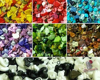 25 Fancy buttons, dog, turtle, tulip, cherry, frog, bear, boat, heart, etc., BF60