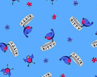 Bird, Kitty, blue, Day Dreamers, 7175-33, Henry Glass & Co, 100% Cotton