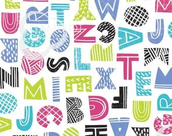 SALE, Letters, white, Mod Blocks, 27180109, col 01, Camelot Fabrics, 100% Cotton, quilt cotton, (Reg 3.76-21.91)